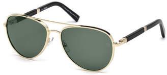 Ermenegildo Zegna Metal Aviator Sunglasses, Pale Gold/Black $425 thestylecure.com