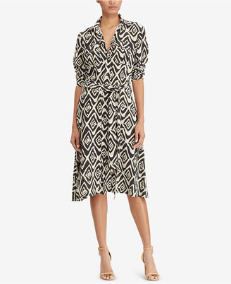 Lauren Ralph Lauren Crepe Fit & Flare Shirtdress $155 thestylecure.com