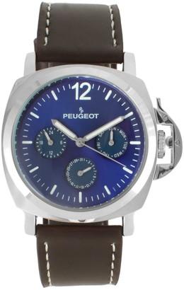 Peugeot Men's Multi-Function Leather Strap Watch