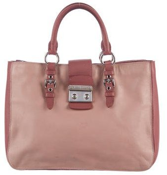 Miu Miu Miu Miu Madras Bicolor Leather Satchel
