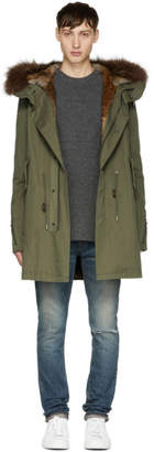 Yves Salomon Green Fur-Lined Hooded Parka
