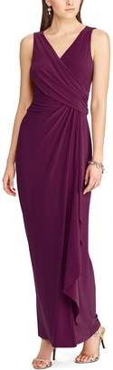 Chaps Women's Surplice Drape-Front Full-Length Dress