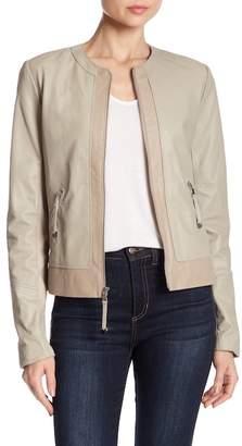 Via Spiga Front Zip Leather Jacket
