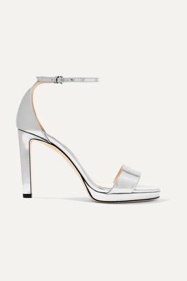 Jimmy Choo Misty 100 Metallic Leather Platform Sandals - Silver