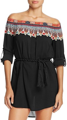 Red Carter Off-the-Shoulder Belted Dress Swim Cover-Up $150 thestylecure.com