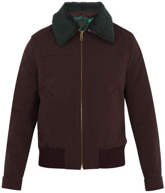 Contrast-collar padded bomber jacket