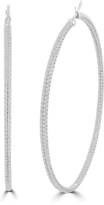 3.94ct Pave Diamond 18k White Gold Inside Out Hoop Earrings