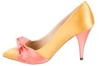 Charlotte Olympia Satin Pointed-Toe Pumps