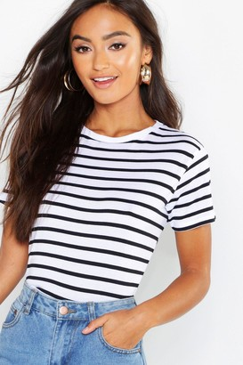 045ff11e18fa1 boohoo Petite Cotton Striped Boxy Fit T-Shirt