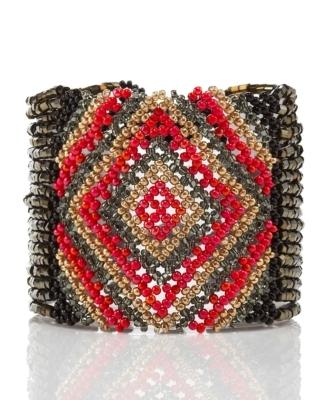 Josefina de Alba Beaded Geometry Cuff, Red