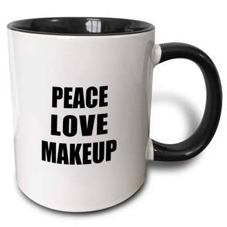 3dRose Peace Love and Makeup. Things that make me happy - make-up artist gift - Two Tone Black Mug, 11-ounce