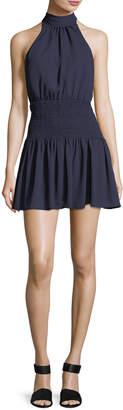 LIKELY Weston Mock-Neck Sleeveless Smocked Mini Dress