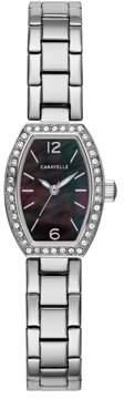Mother of Pearl CARAVELLE Designed by Bulova Caravelle Women's Crystal Barrel Black Stainless Steel Bracelet Dress Watch