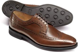 Charles Tyrwhitt Chestnut Goodyear Welted Derby Wing Tip Brogue Shoes Size 11.5