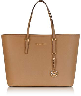 Michael Kors Acorn Saffiano Leather Jet Set Travel Top Zip Tote