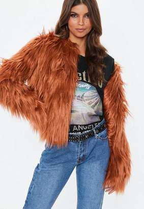 Missguided Rust Collarless Shaggy Coat