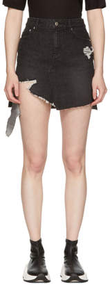Sjyp SSENSE Exclusive Black Denim Cut-Off Miniskirt