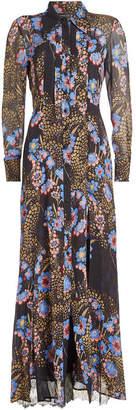 Etro Printed Silk Chiffon Dress with Lace
