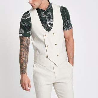 River Island Mens Cream linen blend double breasted vest