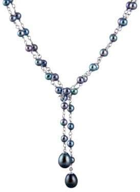 Masako Pearls 4-5MM & 7-8MM Blue Pearl & Sterling Silver Lariat Necklace