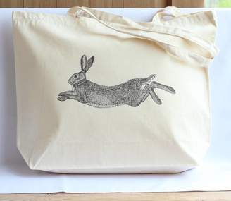 Bird Hare Print Canvas Shopper