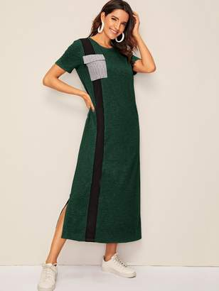 Shein Striped Pocket Patched Contrast Panel Split Side Dress
