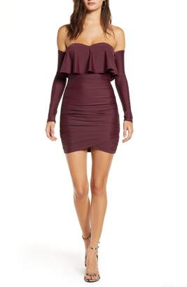 Tiger Mist Kylie Long Sleeve Off the Shoulder Body-Con Dress