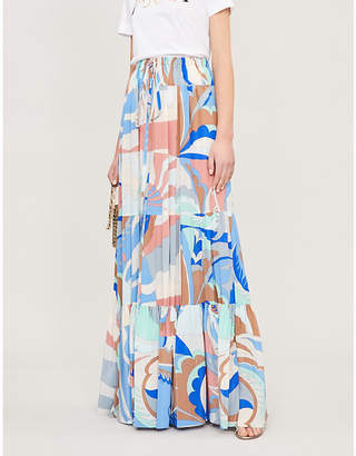 Emilio Pucci Pleated printed silk-crepe maxi skirt
