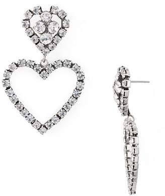 Dannijo Lola Pavé Heart Drop Earrings