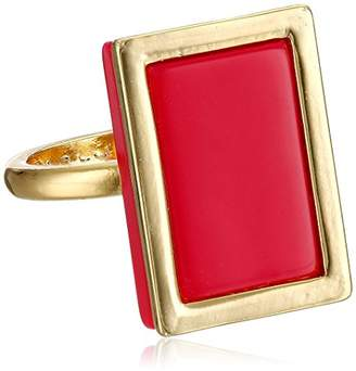 French Connection Gold and Berry Framed Rectangle Ring