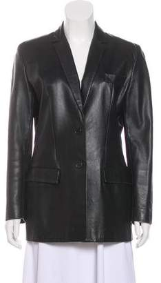 Calvin Klein Collection Leather Notch-Lapel Blazer