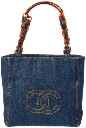 Chanel Blue Denim Petite Shopping Tote