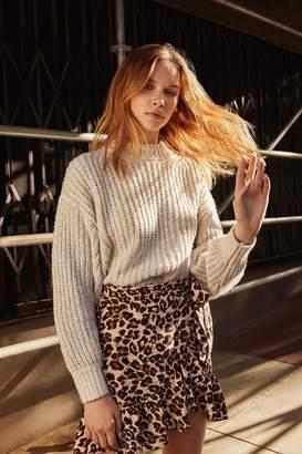 Urban Outfitters Leopard Print Ruffle Wrap Skirt