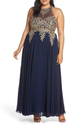 Xscape Evenings Metallic Embroidered Gown