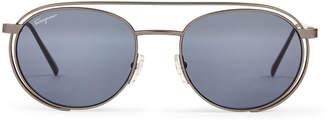 Salvatore Ferragamo SF169S Gunmetal-Tone Round Sunglasses