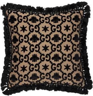 Gucci Gg Jacquard Velvet Cushion - Black Multi