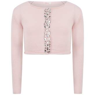 Billieblush BillieblushPink Cropped Cardigan With Crystal Beads