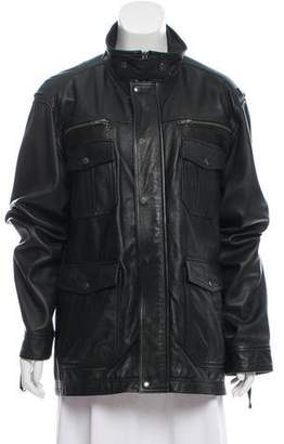 Theory Leather Funnel Collar Jacket