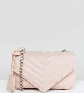 Glamorous Quilted Chevron Cross Body Bag in Beige