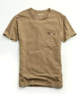 Todd Snyder Made in L.A. Garment Dyed Pocket T-Shirt in Tan