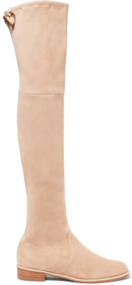 Stuart Weitzman - Lowland Suede Over-the-knee Boots - Beige $800 thestylecure.com