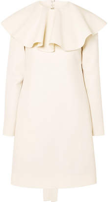 Valentino Open-back Ruffled Wool-cady Mini Dress - Ivory