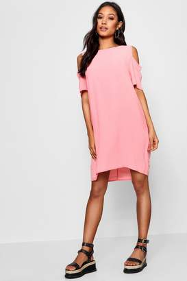 boohoo Cold Shoulder Textured Shift Dress