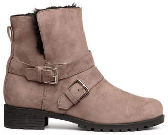 H&M Lined Biker Boots - Beige
