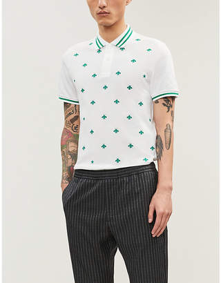 Gucci Bee-embroidered stretch cotton-piqué polo shirt