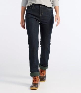 L.L. Bean L.L.Bean Women's True Shape Jeans, Classic Fit Straight-Leg Fleece-Lined