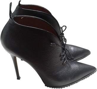 Agnona Black Leather Ankle boots