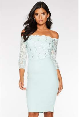 Quiz Mint Green Sequin Lace Scallop Midi Dress