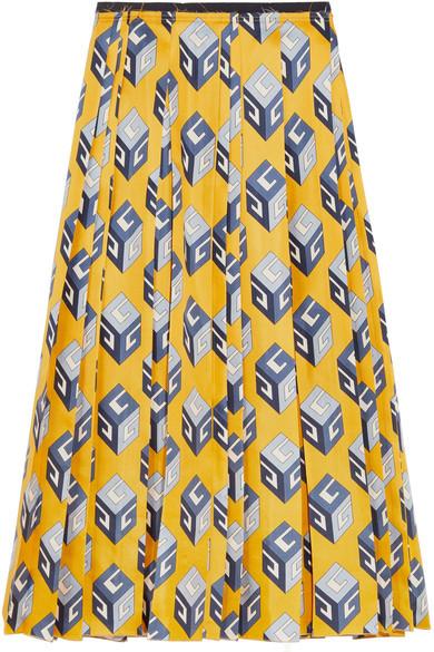 Gucci - Pleated Printed Silk-twill Midi Skirt - Yellow
