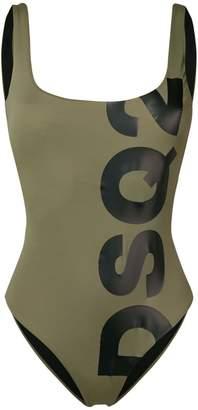 DSQUARED2 high leg scoop back logo swimsuit